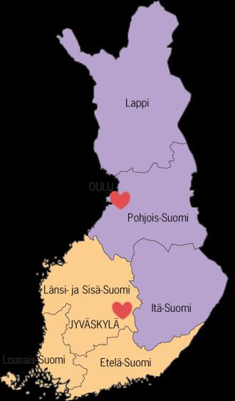 Suomen kartta Omahoitovalmennus-toiminta