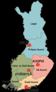 Suomen kartta, johon on merkittynä Ystäväpiiri-toiminnan alueohjaajien työskentelyalueet: 1) Lappi ja Pohjois-Suomi, 2) Itä-Suomi, 3) Länsi- ja Sisä-Suomi, Lounais-Suomi ja 4) Etelä-Suomi