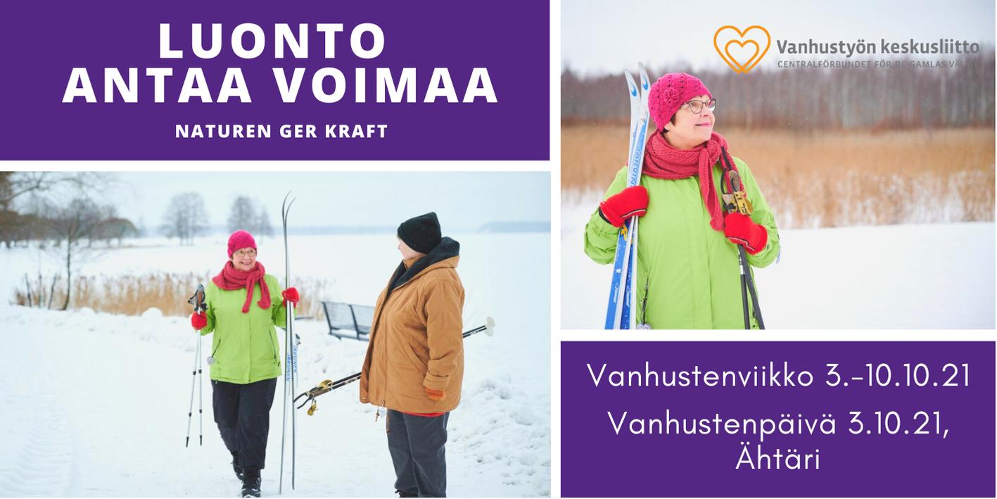 Luonto antaa voimaa - kaksi iäkästä naista ulkoilemassa talvella