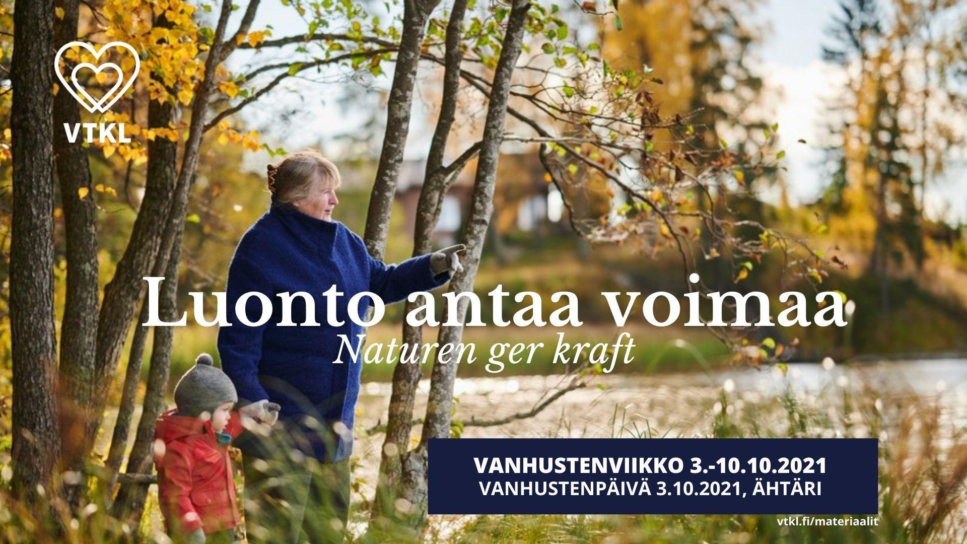 Luonto antaa voimaa, Vanhustenviikko. Isoäiti lapsen kanssa syksyisen lammen rannalla.